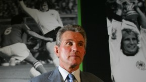 Borussia Moenchengladbach's new coach Heynckes poses after a news conference in Moenchengladbach