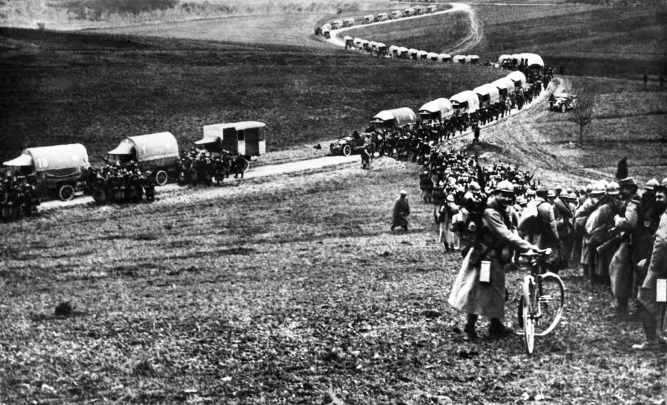 Französische Truppenbewegungen für die Schlacht von Verdun