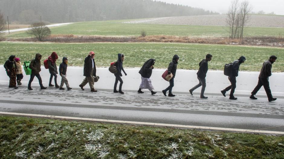 Bis 2014 wurde die Zuwanderung vor allem durch Wanderbewegungen aus anderen EU-Ländern bestimmt. 2015 waren es vor allem schutzsuchende Flüchtlinge wie hier Ende November bei Wegscheid in Bayern