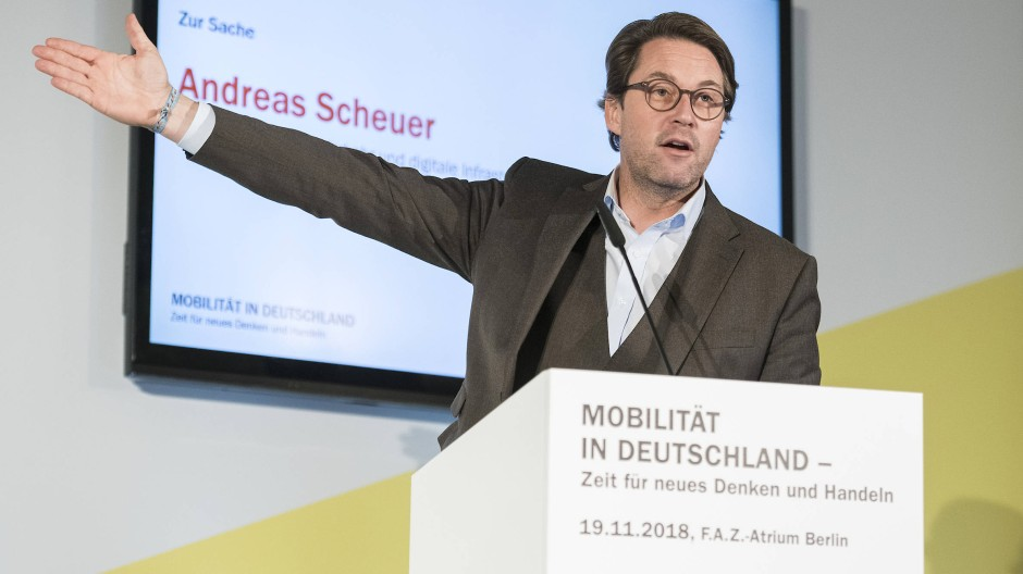 Andreas Scheuer, CSU, Bundesminister für Verkehr und digitale Infrastruktur, auf der F.A.Z.-Mobilitätskonferenz am Montag in Berlin