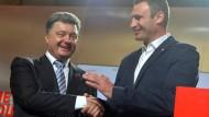 Der absehbar neue ukrainische Präsident Petro Poroschenko und der mutmaßliche neue Bürgermeister von Kiew, Vitali Klitschko
