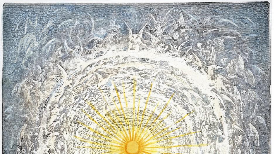 Der Blick ins Paradies. Auf dem  Holzstich von Gustave Doré aus dem Jahr 1861 bestaunt der Dichter an der Seite Beatrices die neun Kreise des Himmels und die Wohnstätte der Seligen in der Form einer gewaltigen Rosenblüte