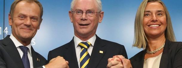 EU-Ratspräsident van Rompuy (M.) mit seinem Nachfolger Tusk (l.) und der neuen Außenbeauftragten Federica Mogherini