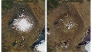 Links: Luftaufnahme des Okjökull am 14. September 1986. Rechts: 1. August 2019