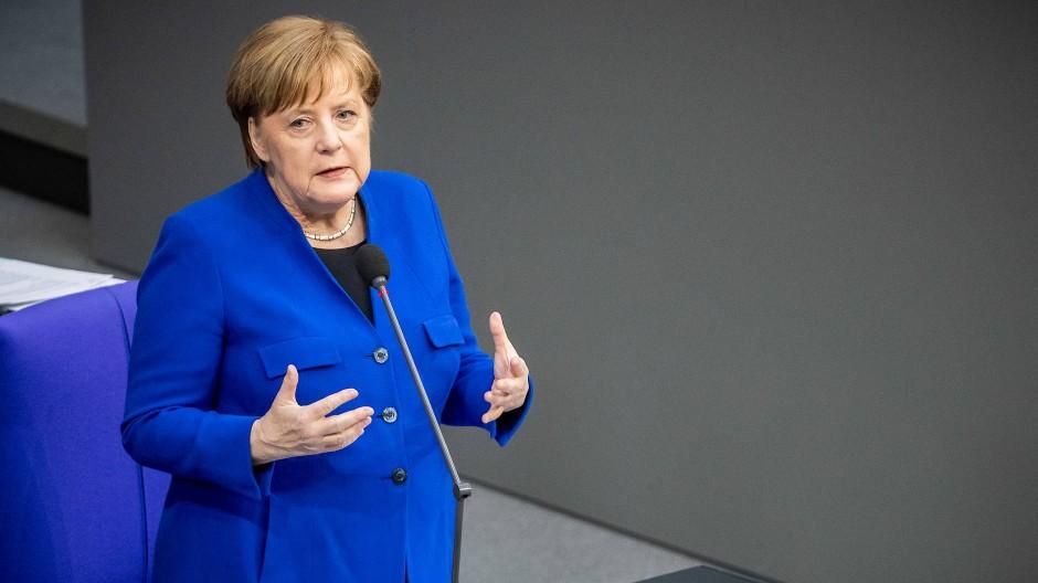 Kanzlerin Angela Merkel (CDU) am Mittwoch im Bundestag