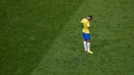 Allein auf weiter Flur: Neymar nach dem Aus der Brasilianer gegen Belgien bei der Fußball-WM.