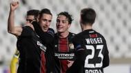 Dominik Kohr bejubelt sein Tor beim 5:1-Sieg Bayer Leverkusens gegen AEK Larnaka .