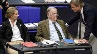 Die Neuen im Bundestag: die Fraktionschefs Alice Weidel und Alexander Gauland sowie der Parlamentarische Geschäftsführer Bernd Baumann