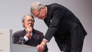 Gnade verloren. Am 8. März hat Berthold Beitz (links), der Herrscher über Thyssen-Krupp, Aufsichtsratschef Gerhard Cromme verstoßen.