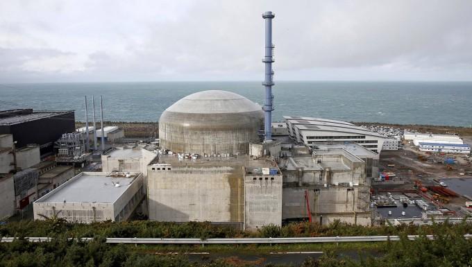 Die Baustelle des Atommeilers in Flamanville in Frankreich