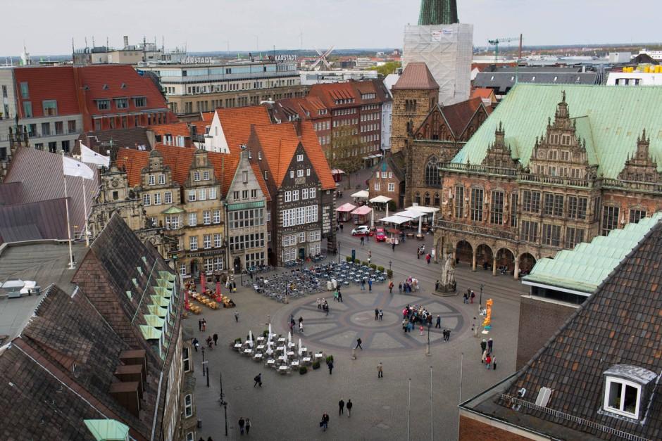 Bremen Blick Auf Den Marktplatz Und Das Rathaus
