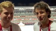 Christopher Meltzer und Anno Hecker in Tokio nach der Eröffnungsfeier.