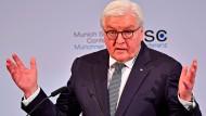 Bundespräsident Frank-Walter Steinmeier am Freitag auf der Münchner Sicherheitskonferenz