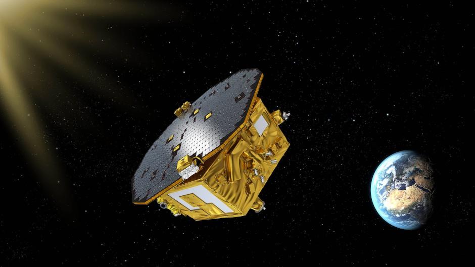 Das Lisa Pathfinder Experiment der Esa, hier in künstlerischer Darstellung, konnte die Machbarkeit eines Gravitationswellen-Interferometers im All demonstrieren.