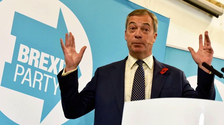 Der Vorsitzende der Brexi Party, Nigel Farage