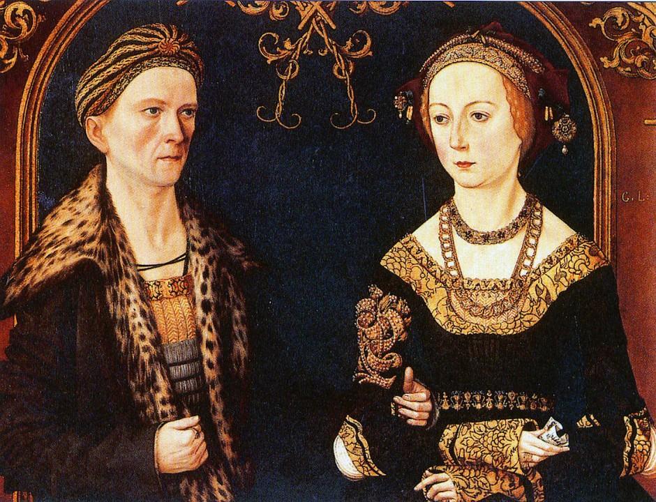 Hochzeitsbild von Jakob Fugger und seiner Ehefrau Sibylla Artzt, 1498