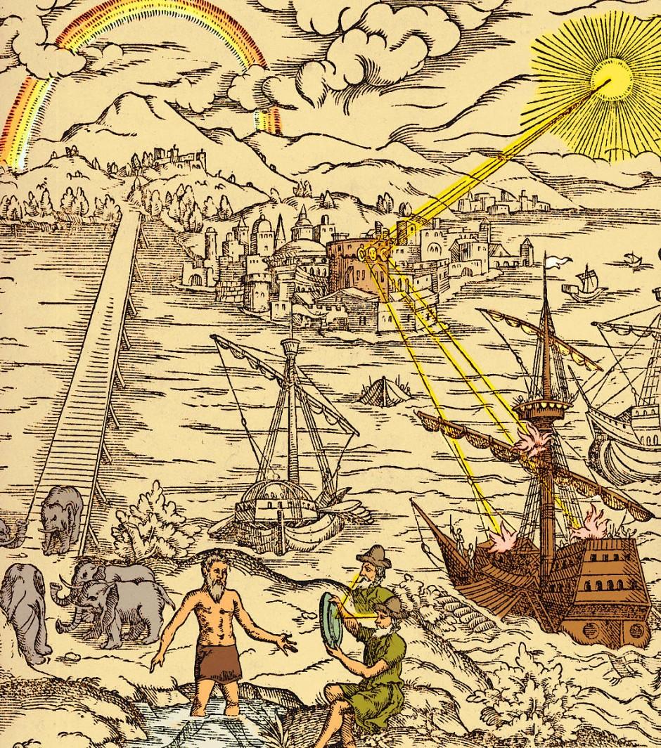"""Das Cover der lateinischen Übersetzung von Ibn al-Haythams """"Buch der Optik"""" illustriert diverse optische Effekte."""