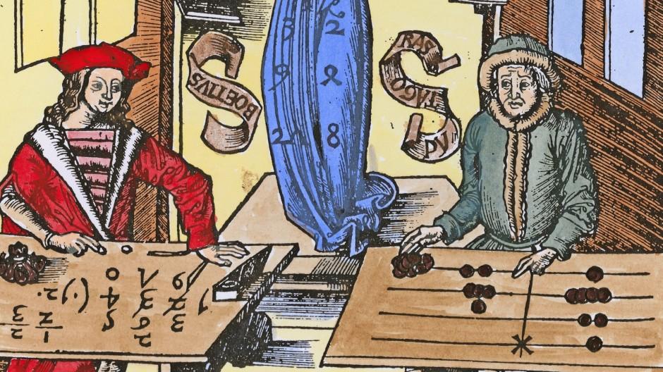Pythagoras mit Rechenbrett gegen Boethius vor arabischen Ziffern und Symbolen: Allegorie der Arithmetik,  1504