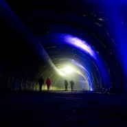 Im Brenner-Basistunnel bei Innsbruck: Oben der Entlüftungsschlauch