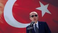 Der türkische Staatspräsident Recep Tayyip Erdogan bei einer Rede in Istanbul im August