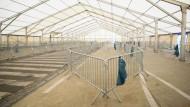 Ein leeres Flüchtlingszentrum in Spielfeld an der österreichisch-slowenischen Grenze.