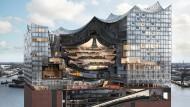 Wie ein Quarzkristall auf einem alten Hafenspeicher aus Backstein: Der Bau der Elbphilharmonie beherbergt außer den Musiksälen auch ein Luxushotel und 45 Wohnungen der gehobenen Kategorie. Als die Pläne 2005 vorgestellt wurden, sollte das Bauwerk 2010 fertig sein und 77 Millionen Euro kosten. Es wurden 866 Millionen, von denen 789 Millionen aus öffentlichen Mitteln bezahlt werden mussten.