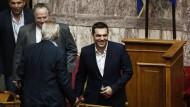 Alexis Tsipras vor der Abstimmung am Abend in Athen