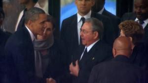 Historischer Handschlag von Obama und Castro