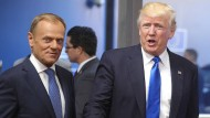 EU-Ratspräsident Donald Tusk im Mai 2017 zusammen mit dem amerikanischen Präsidenten Donald Trump in Brüssel