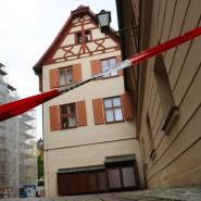 Abgesperrt: die Innenstadt von Ansbach rund um den Tatort