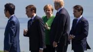 Allein unter Männern: Angela Merkel im Sommer beim G-7-Gipfel in Kanada.