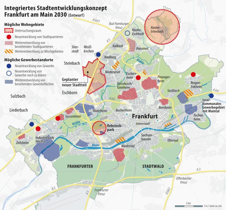 Stadtentwicklungskonzept: Von dieser vorläufigen Karte hat der Magistrat mittlerweile Abstand genommen.