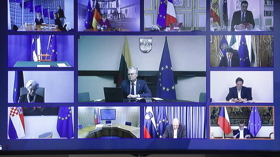 Screenshot der Teilnehmer der EU-Videokonferenz am Donnerstag