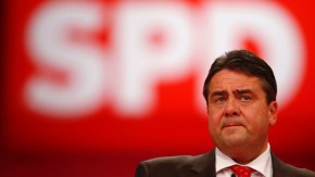 Gabriel, leader of the German Social Democratic Party (SPD) delivers his speech at the extraordinary party meeting of the SPD in Hanover