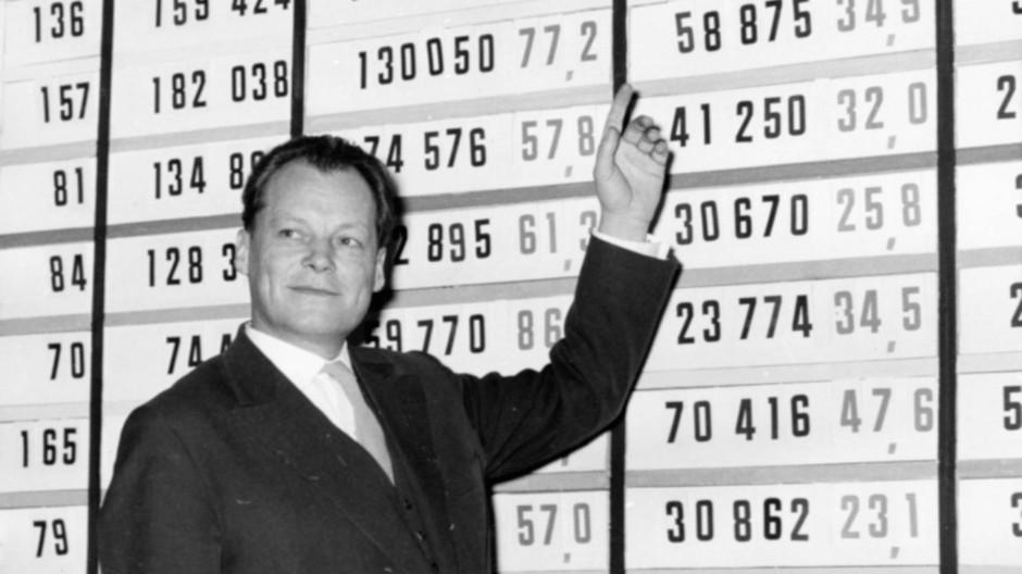 Willy Brandt vor einer Tafel mit Wahlresultaten der Wahl zum Berliner Abgeordnetenhaus im Dezember 1958. Kurt Landsberg war bereits im März als Parlamentspräsident zurückgetreten.