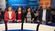 Spitzenkandidaten für die Europawahl: Nicola Beer (FDP), Ska Keller (Bündnis 90/Die Grünen), Özlem Demirel (Die Linke), Jörg Meuthen (AfD)