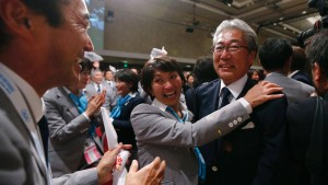 Japan's Olympic Committee President Tsunekazu Takeda celebrates as Jacques Rogge President of the International Olympic Committee announces Tokyo as the city to host the 2020 Summer Olympic Game during a ceremony in Buenos Aires