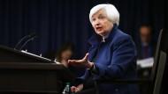 Janet Yellen im März 2017 während einer Pressekonferenz der Notenbank