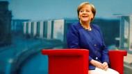 Blickt optimistisch in die Zukunft: Kanzlerin Angela Merkel beim Sommerinterview in der ARD