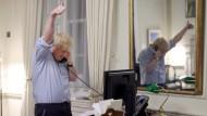 Der britische Regierungschef Boris Johnson bei seinem Telefonat mit Joe Biden