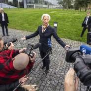 Die neue EZB-Chefin Chrstine Lagarde vor ihrem Arbeitsplatz in Frankfurt