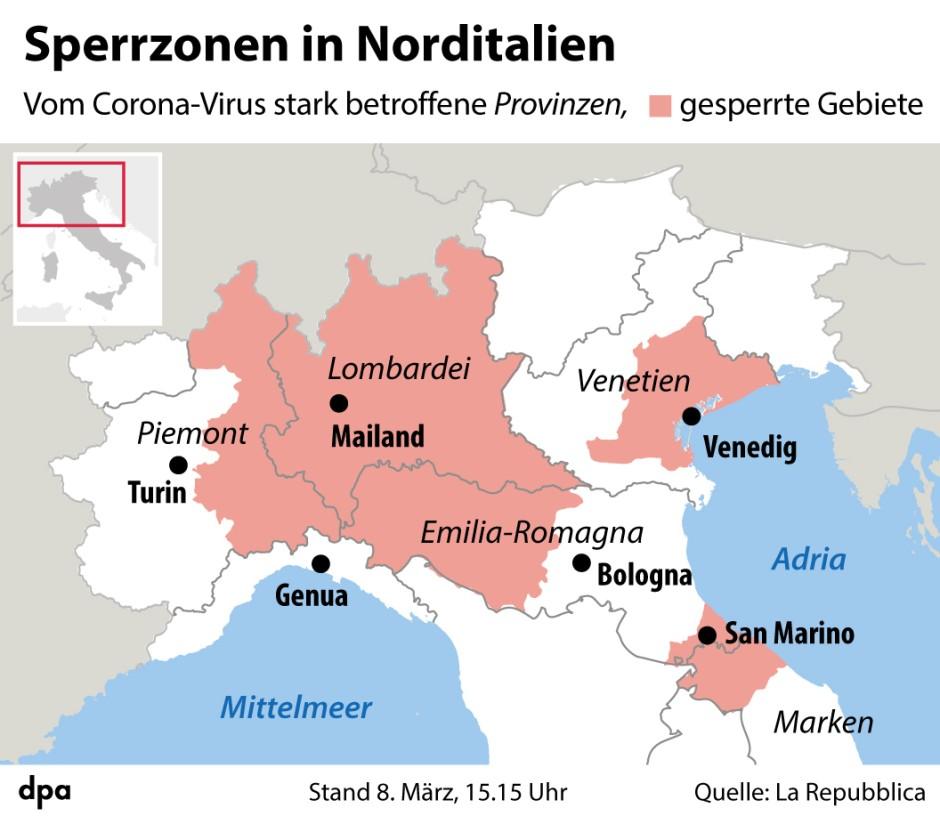 Coronavirus Italien Riegelt Den Norden Ab