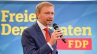Christian Lindner, Bundesvorsitzender der FDP, bei einer Wahlkampfveranstaltung am 4. September 2017 in Abensberg (Bayern)