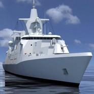 Computersimulation des neuen Kampfschiffs MKS 180.