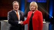 SPD-Spitzenkandidatin Hannelore Kraft und CDU-Spitzenkandidat Armin Laschet bei ihrem TV-Duell