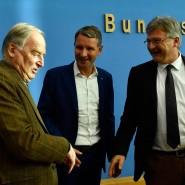 Die Früchte des Erfolges gemeinsam präsentieren: AfD-Vorsitzender Alexander Gauland (links), Björn Höcke (Mitte), Fraktionsvorsitzender und Spitzenkandidat der AfD in Thüringen, und der Parteivorsitzende Jörg Meuthen (rechts), bei einer Pressekonferenz in Berlin am Montag.