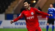 Auf dem Weg zum Sieg: der Offenbacher Ko Sawada nach dem 1:0