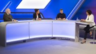 Von links: Manfred Lütz (Theologe), Dagmar Rosenfeld (Journalistin), Micky Beisenherz (TV-Moderator) und Sandra Maischberger