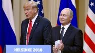 Der amerikanische Präsident Donald Trump und der russische Präsident Wladimir Putin am Montag in Helsinki