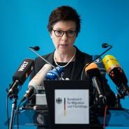 Jutta Cordt bei einer Pressekonferenz in der vergangenen Woche in Berlin